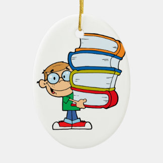cute boy student with lots of books ceramic ornament