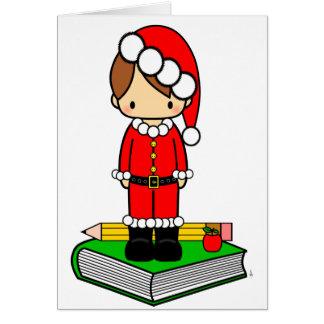 Cute boy teacher/student dressed in Santa suit Greeting Card