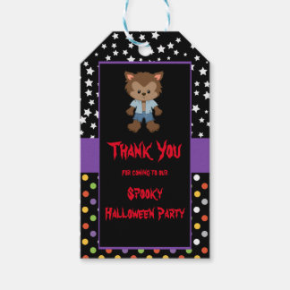 Cute Boy Werewolf Halloween Party Gift Tags