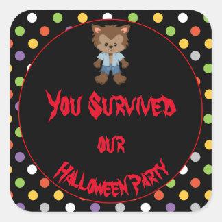 Cute Boy Werewolf Halloween Party Square Sticker