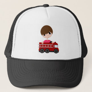 Cute, Boy with Fire Truck Trucker Hat