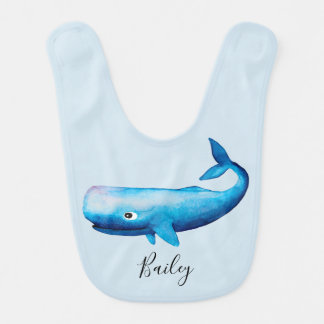 Cute Boy's Blue Sea Watercolor Whale Beach & Name Bib