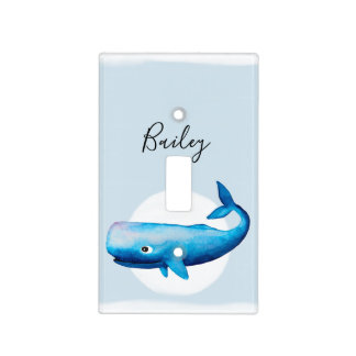 Cute Boy's Blue Sea Watercolor Whale Name Nursery Light Switch Cover