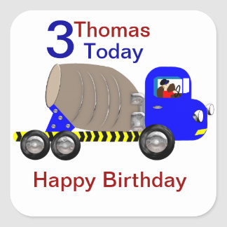 Cute Boys Cement Mixer Truck Birthday Stickers