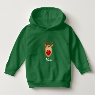 Cute Boy's Christmas Watercolor Rudolph with Name Hoodie