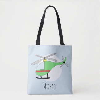 Cute Boy's Helicopter Aircraft with Name Tote Bag
