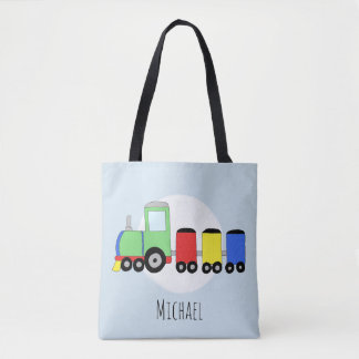 Cute Boy's Locomotive Train with Name Tote Bag