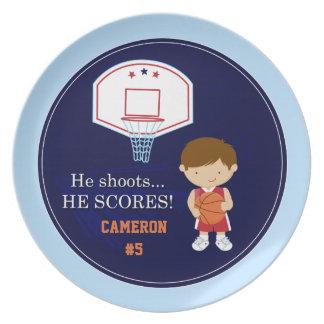 Cute boys personalized basketball sports plate