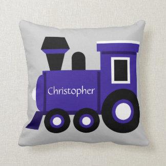 Cute Boy's Pillow, Blue Train w/ Name Throw Pillow