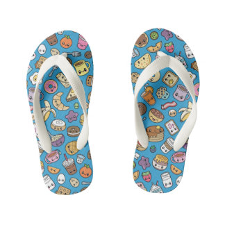 Cute Breakfast Food kid flip flops