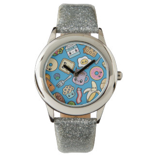 Cute Breakfast Food kid glitter watch