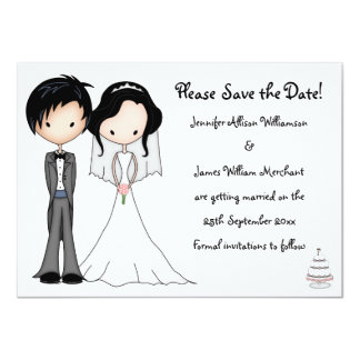 "Cute Bride and Groom Cartoon Save the Date 4.5"" X 6.25"" Invitation Card"