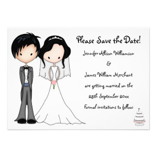 Cute Bride and Groom Cartoon Save the Date Personalized Invitation