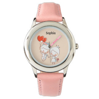 Cute Bride and Groom Heart Balloons Personalized Watch
