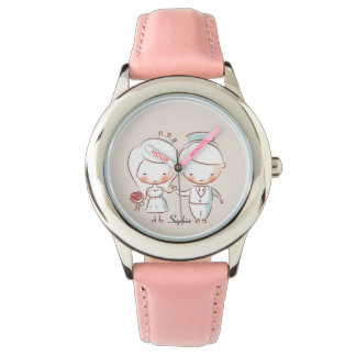 Cute Bride and Groom Personalized Watch