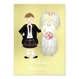 "Cute Bride and Groom Scottish Wedding Theme 4.5"" X 6.25"" Invitation Card"