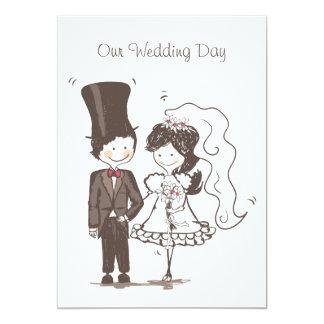 Cute Bride & Groom Blank Wedding Invitation