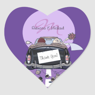 Cute Bride & Groom Lavender Getaway Thank You Heart Sticker