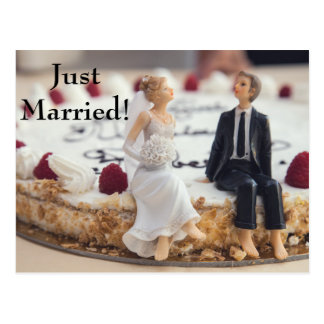 Cute Bride & Groom On White Cake Postcard
