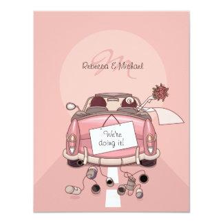 Cute Bride & Groom Pink Getaway Car Card