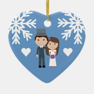 Cute Bride, Groom & Snowflakes Winter Wedding Ceramic Ornament