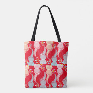 Cute bright baby elephants design on red tote bag