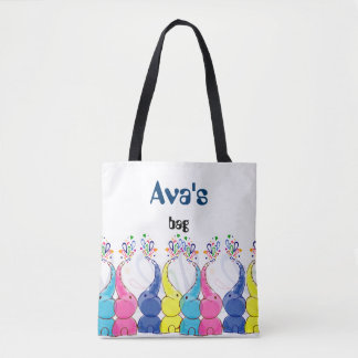 Cute bright baby elephants design tote bag