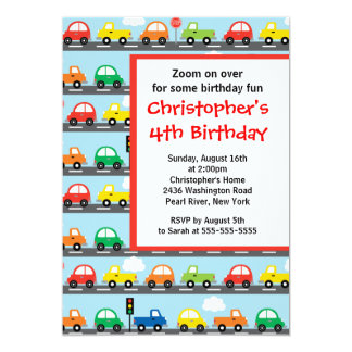 """Cute Bright & Colorful Cars Birthday Party 5"""" X 7"""" Invitation Card"""