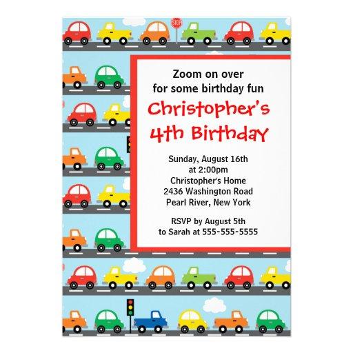 Cute Bright & Colorful Cars Birthday Party Custom Invitation