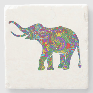 Cute Bright Colors Floral Elephant Illustration Stone Coaster