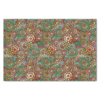 Cute Bright Colors Retro Circles Floral Pattern Tissue Paper