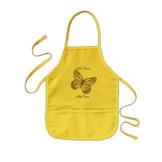 Cute Bright Giant Butterfly Custom Text Kids Apron