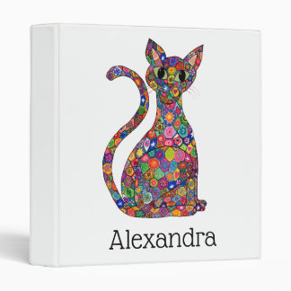 Cute Bright Millefiori Pattern Cat Monogram Name Binder