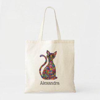 Cute Bright Mosaic Pattern Cat Monogram Name Tote Bag
