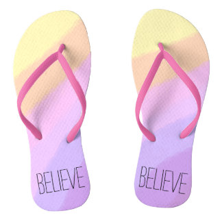cute bright neon brushstrokes unicorn colors flip flops