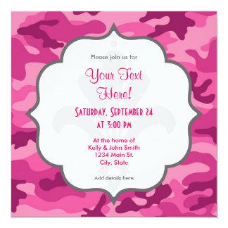 """Cute Bright Pink Camo, Camouflage 5.25"""" Square Invitation Card"""