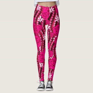 Cute bright pink roses wavy flower Leggings
