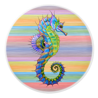 Cute Bright Sunset Colors Artsy Seahorse Ceramic Knob