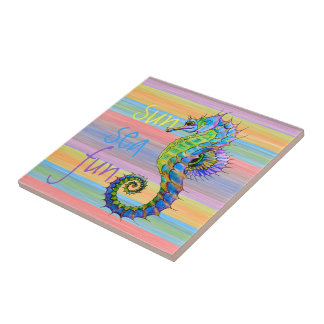 Cute Bright Sunset Colors Artsy Seahorse Tile