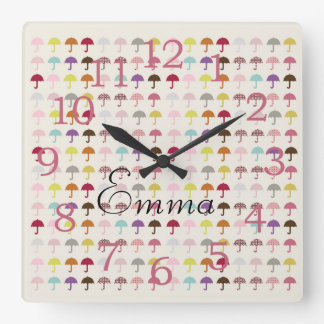 Cute Bright Umbrellas Add Name Wall  Clock
