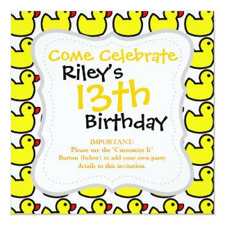 """Cute Bright Yellow Rubber Ducky Pattern 5.25"""" Square Invitation Card"""