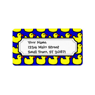 Cute Bright Yellow Rubber Ducky Pattern on Blue