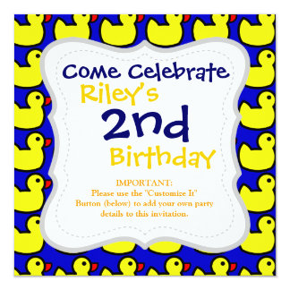 "Cute Bright Yellow Rubber Ducky Pattern on Blue 5.25"" Square Invitation Card"