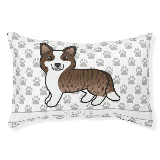 Cute Brindle Cardigan Welsh Corgi & Pet's Own Name Pet Bed