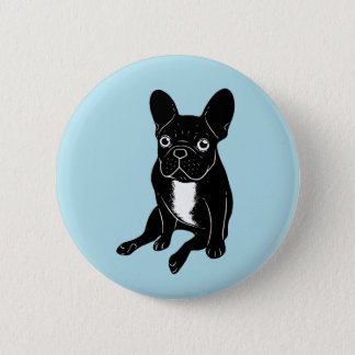 Cute brindle Frenchie in black & white digital art 2 Inch Round Button