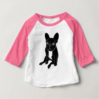 Cute brindle Frenchie in black & white digital art Baby T-Shirt