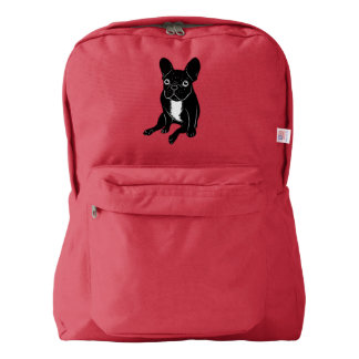 Cute brindle Frenchie in black & white digital art Backpack