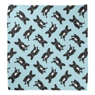 Cute brindle Frenchie in black & white digital art Bandana