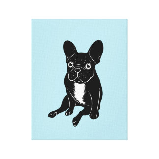 Cute brindle Frenchie in black & white digital art Canvas Print