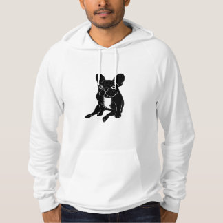 Cute brindle Frenchie in black & white digital art Hoodie